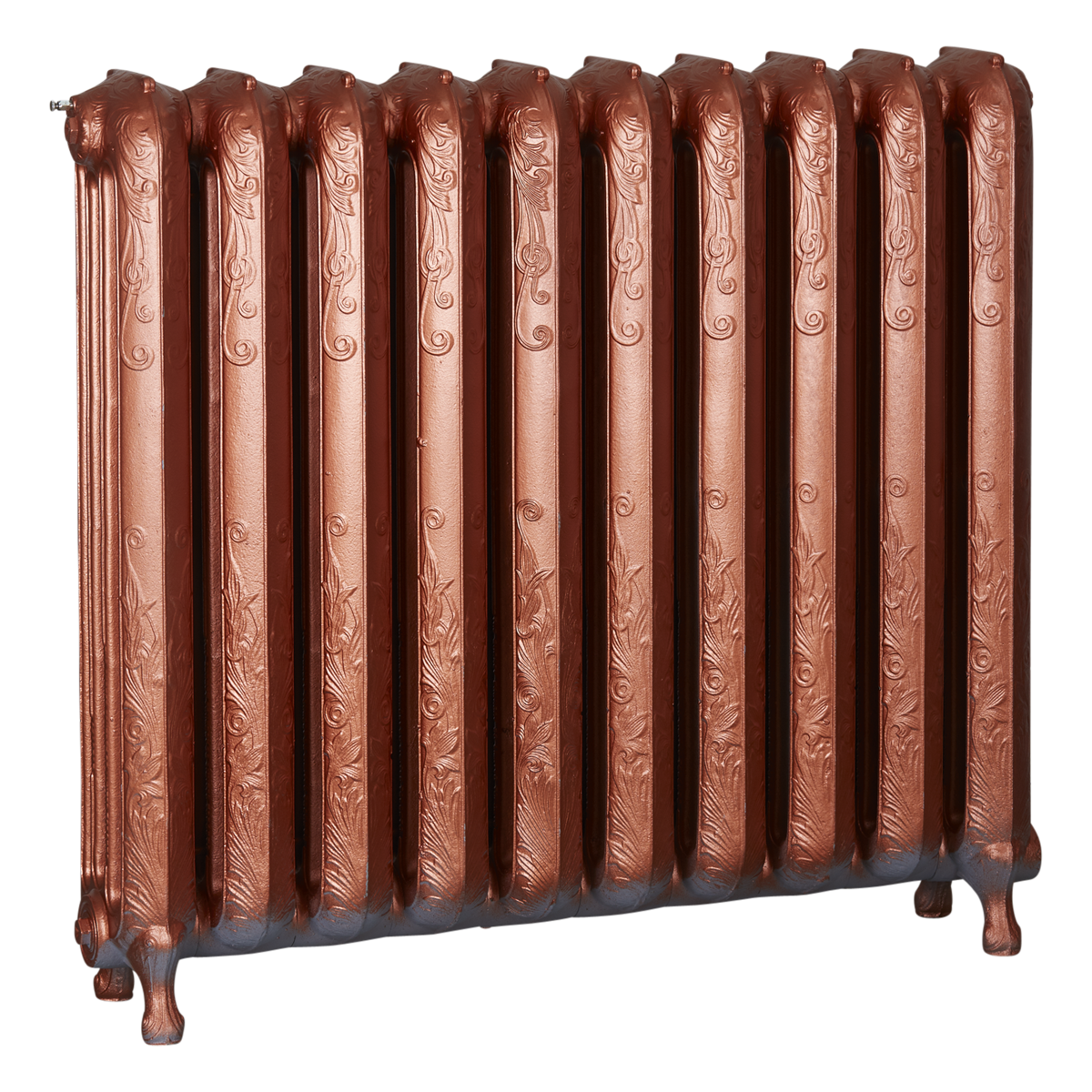 Ironworks Radiators Inc. refurbished cast iron radiator Barrington in Copper Metallic
