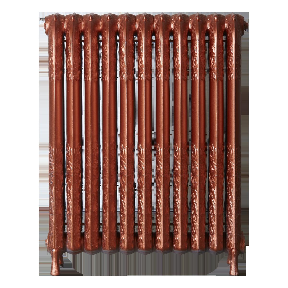 Ironworks Radiators Inc. refurbished cast iron radiator Briar Hill in Copper Metallic