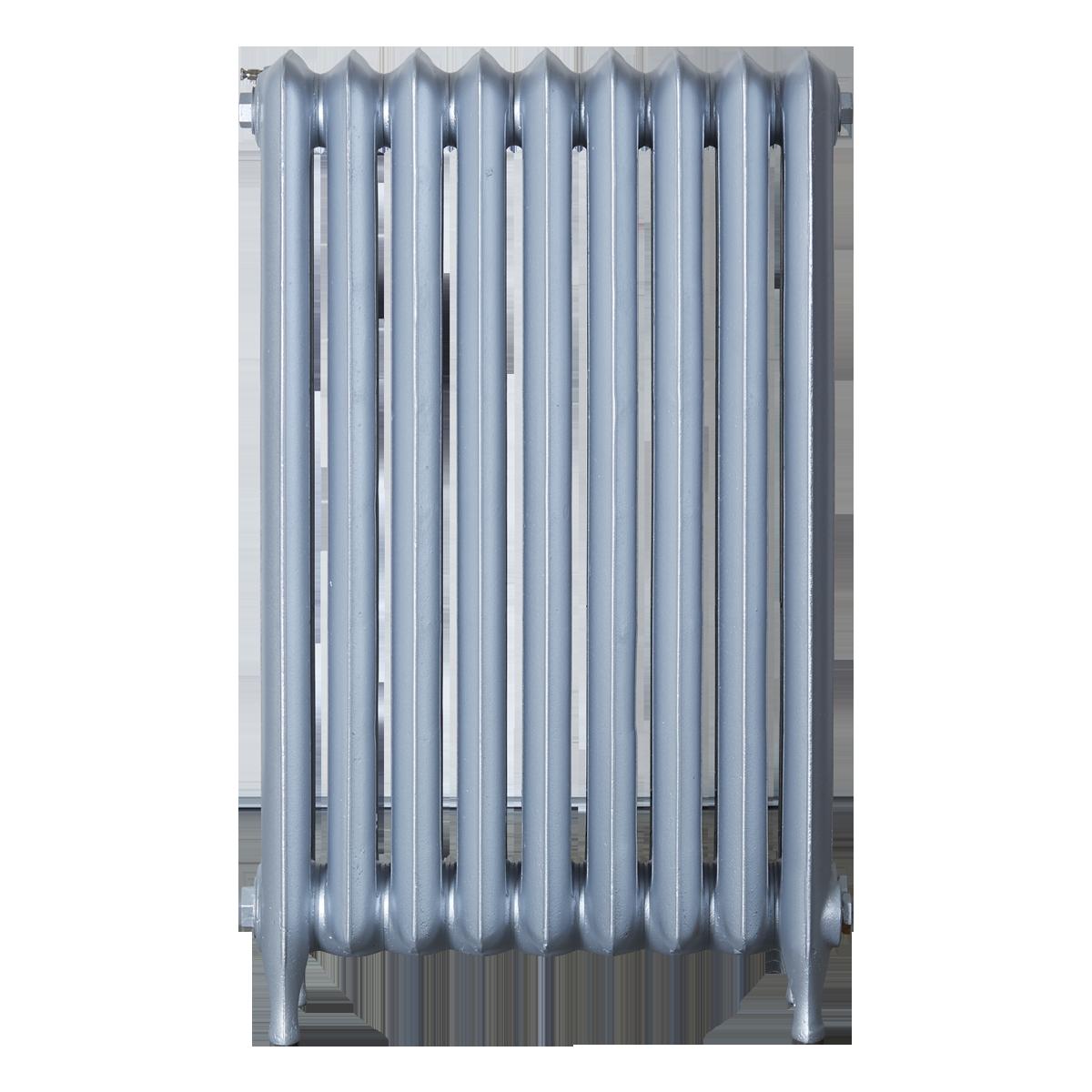 Ironworks Radiators Inc. refurbished cast iron radiator Dragonfly in Platinum Metallic