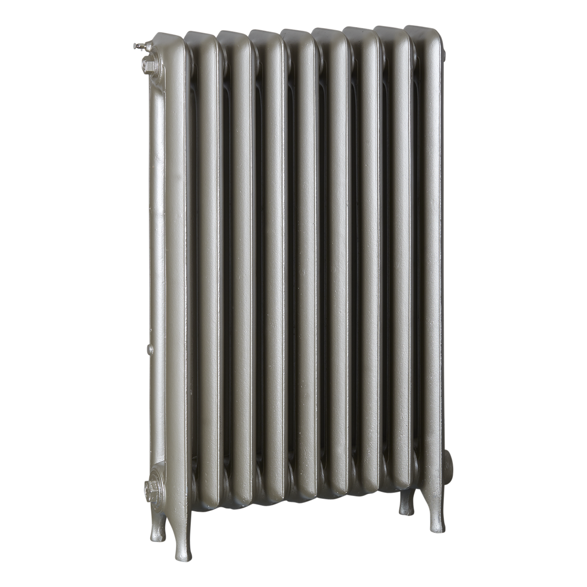 Ironworks Radiators Inc. refurbished cast iron radiator Eastbourne in Nickel Metallic