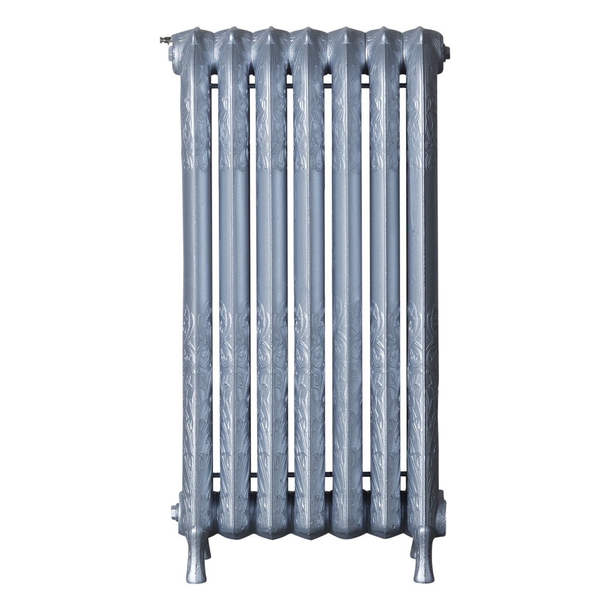 Ironworks Radiators Inc. refurbished cast iron radiator Foxhill in Platinum Metallic