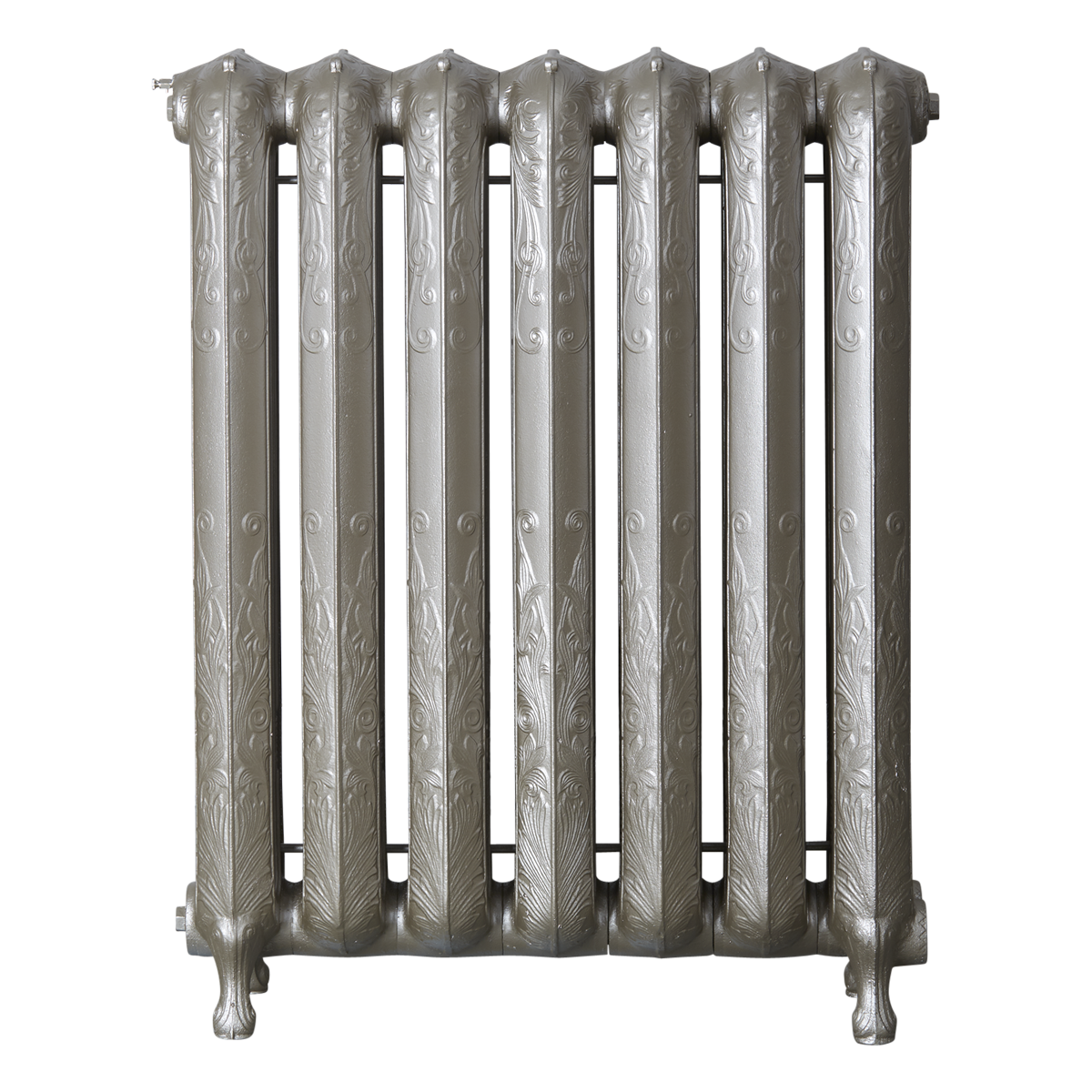 Ironworks Radiators Inc. refurbished cast iron radiator Wellington in Nickel Metallic