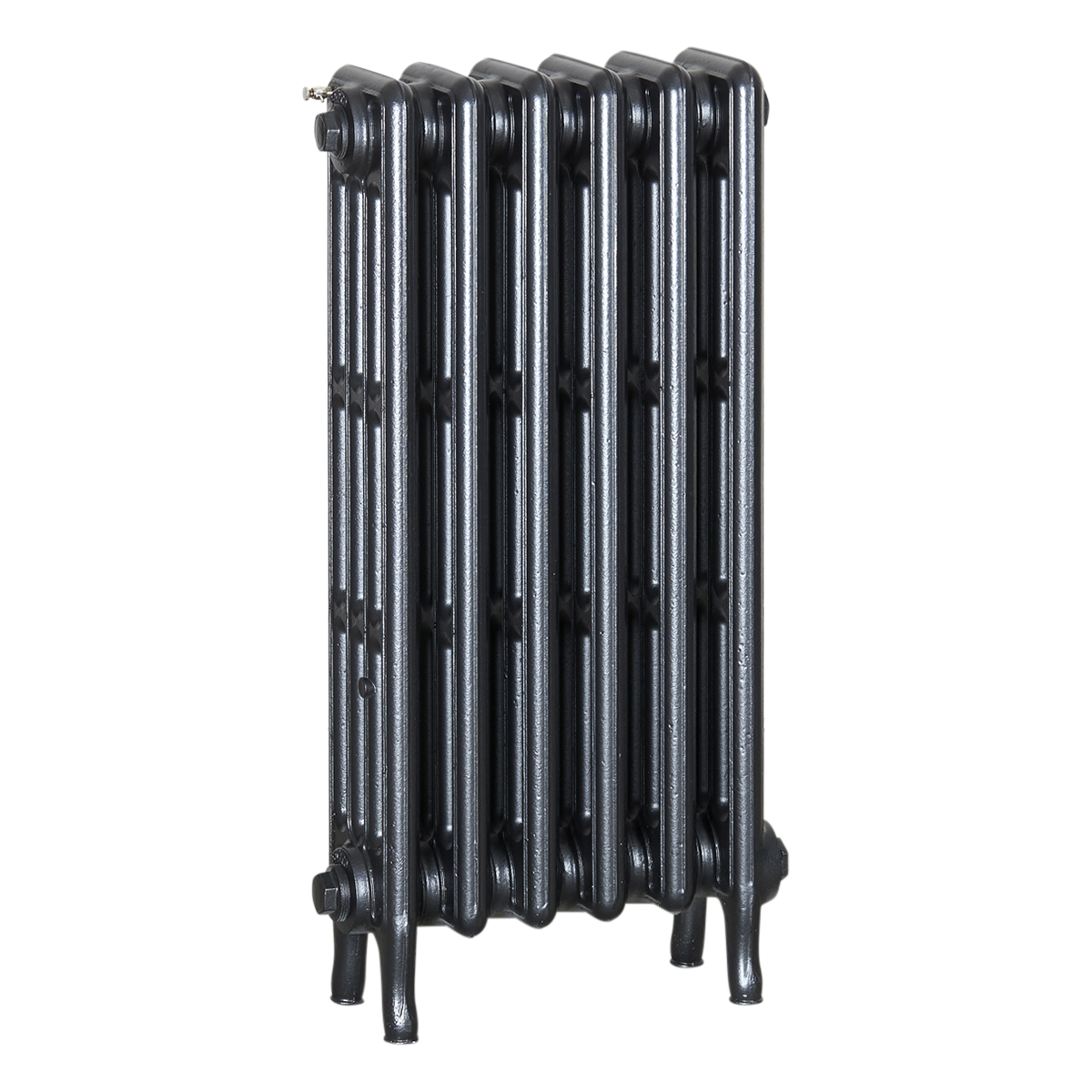 Ironworks Radiators Inc. refurbished cast iron radiator Fairbank in Black Pearl metallic