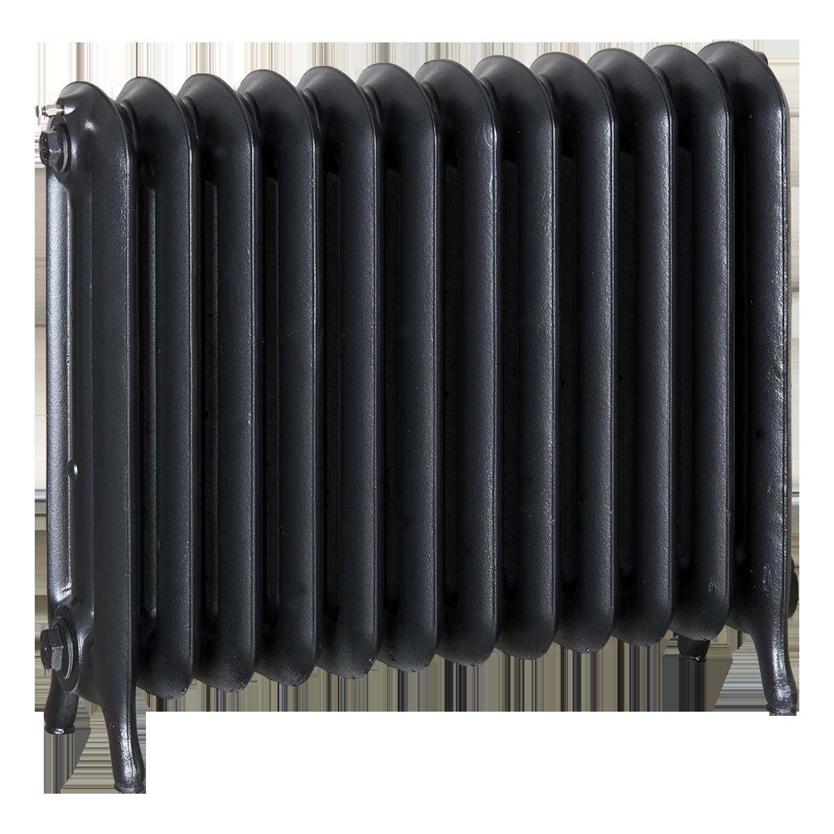 Ironworks Radiators Inc. refurbished cast iron radiator Milton in Black Pearl metallic