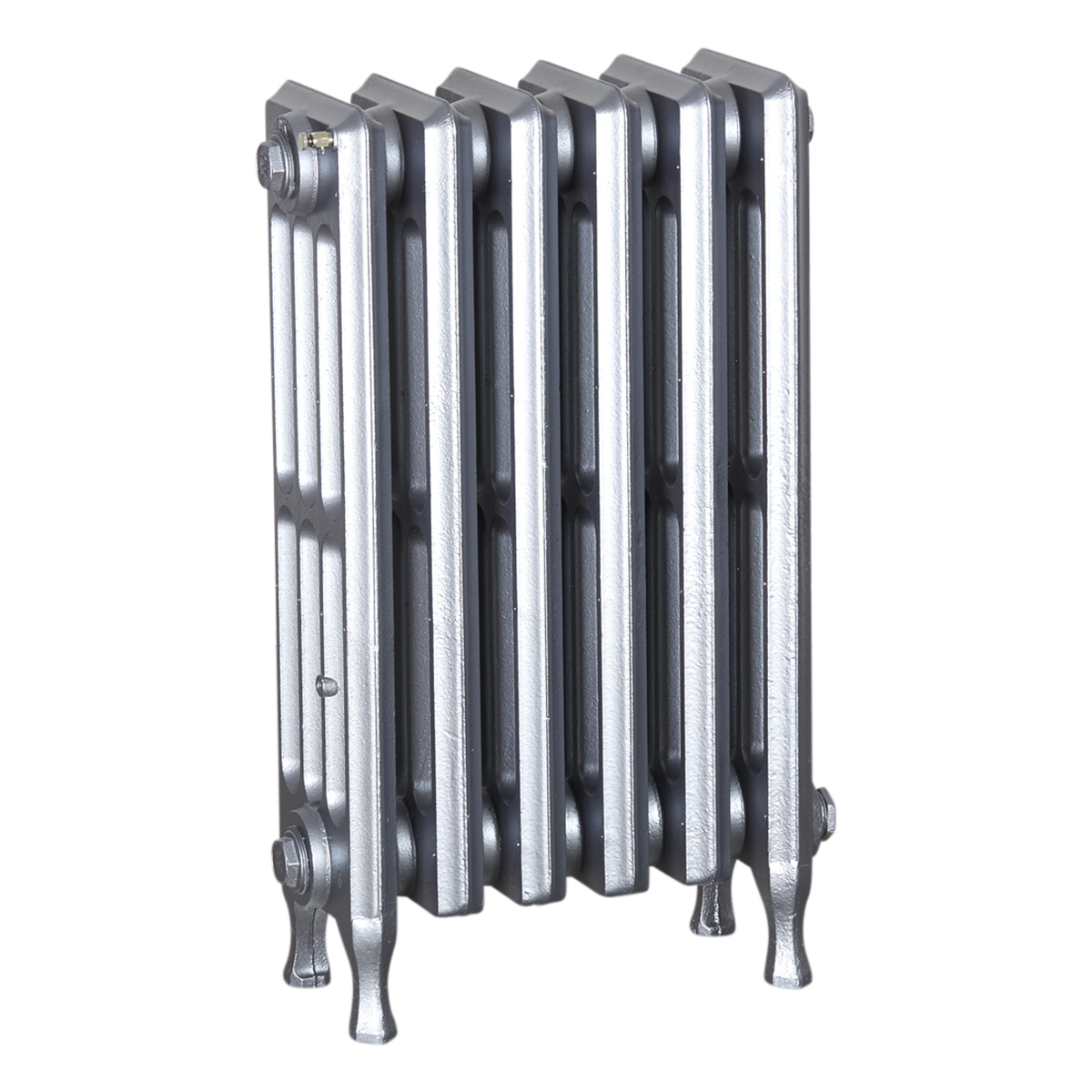 Ironworks Radiators Inc. refurbished cast iron radiator Pacific in Pewter metallic