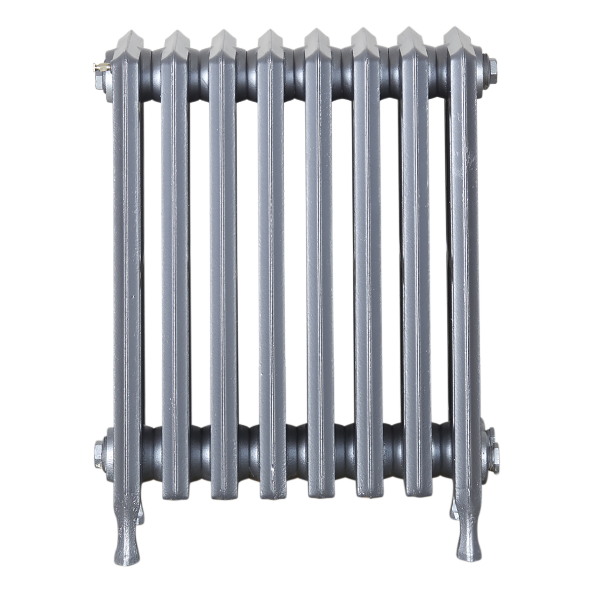 Ironworks Radiators Inc. refurbished cast iron radiator Rockford in Pewter metallic