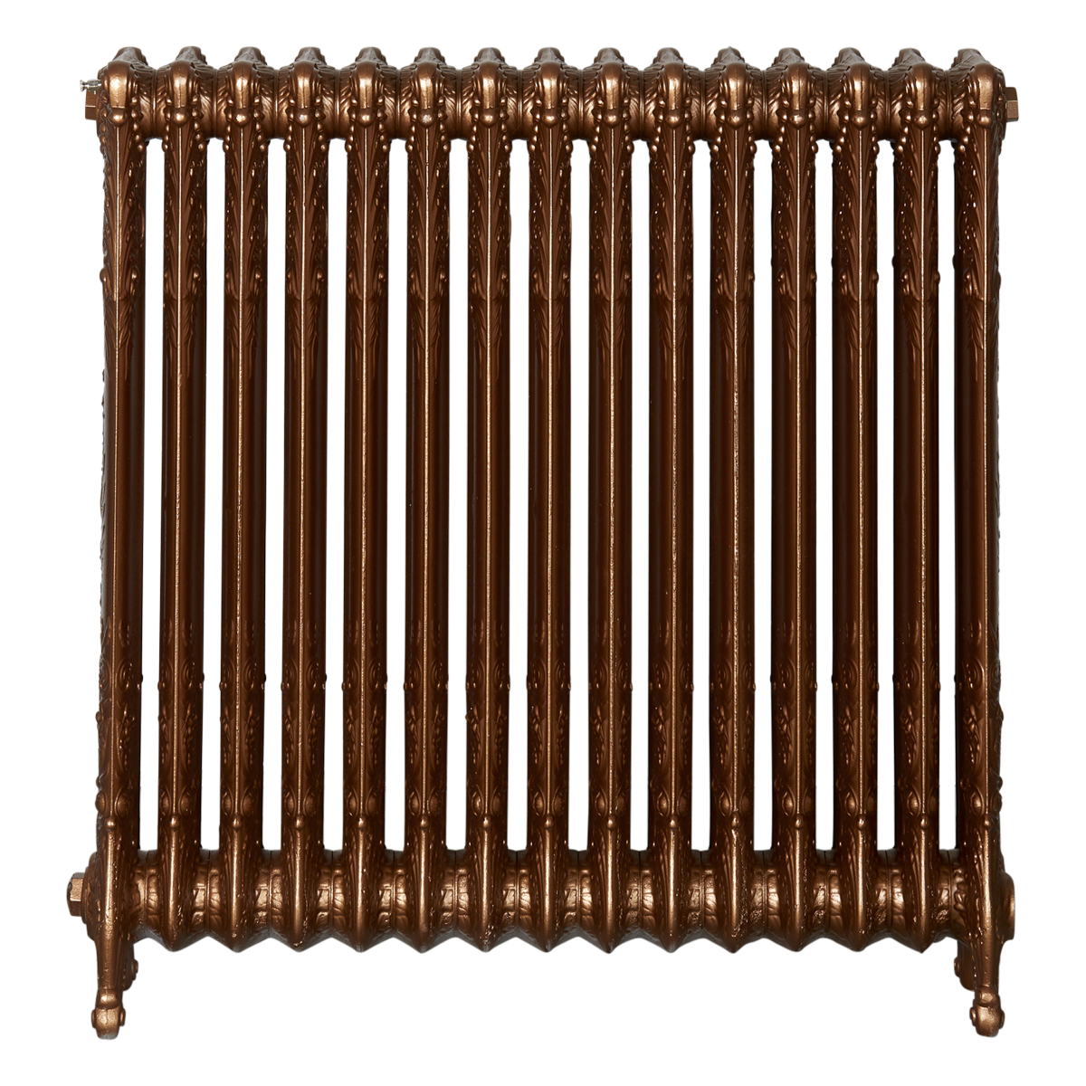 Ironworks Radiators Inc. refurbished cast iron radiator Rosethorn in Antique Bronze metallic