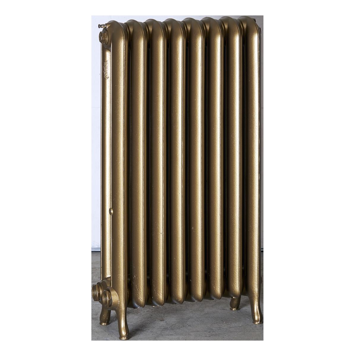 Ironworks Radiators Inc. refurbished cast iron radiator Avalon in Brass metallic