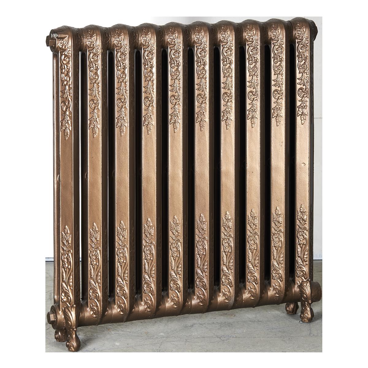 Ironworks Radiators Inc. refurbished cast iron radiator Beverly in Statuary Bronze