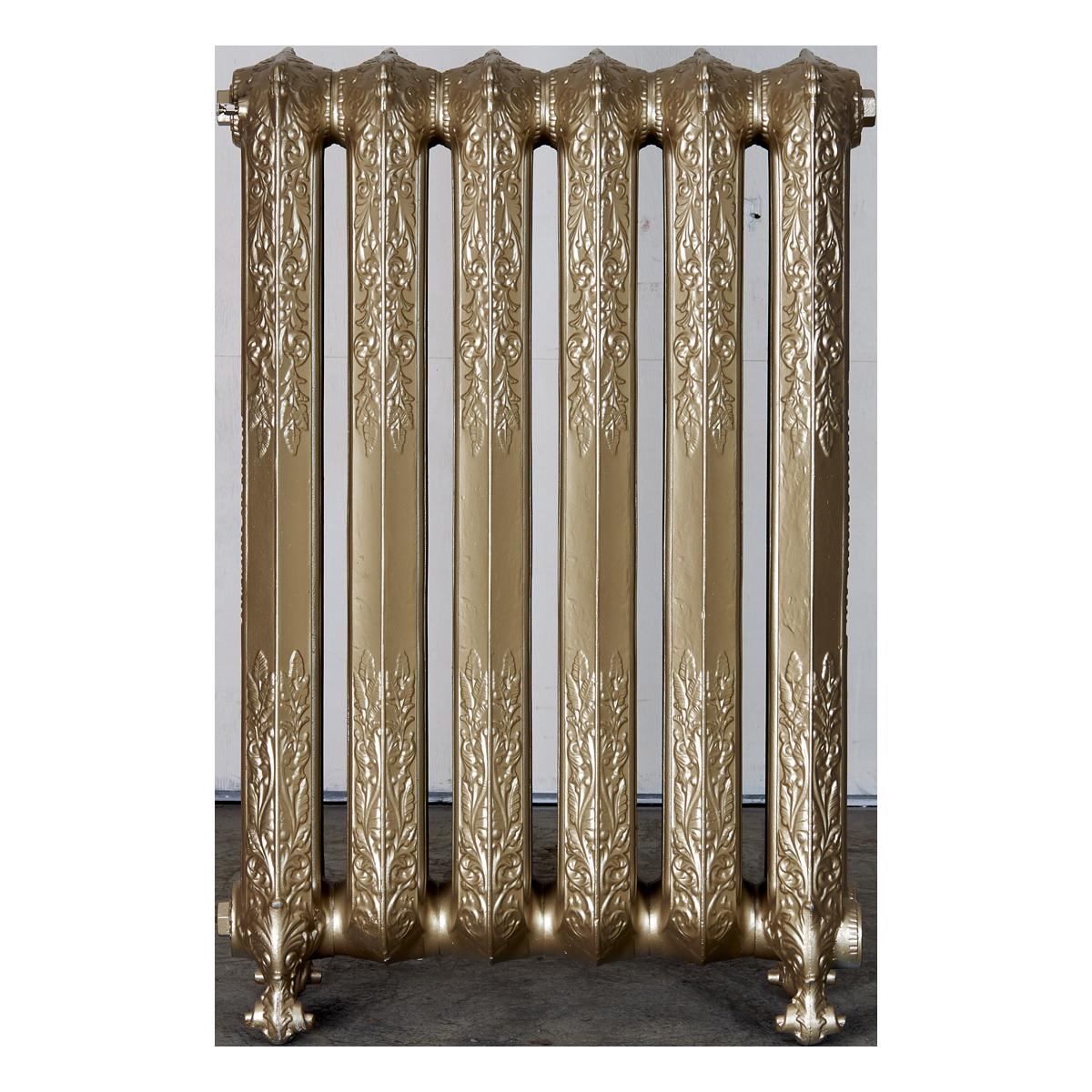 Ironworks Radiators Inc. refurbished cast iron radiator Cassandra in Champagne metallic