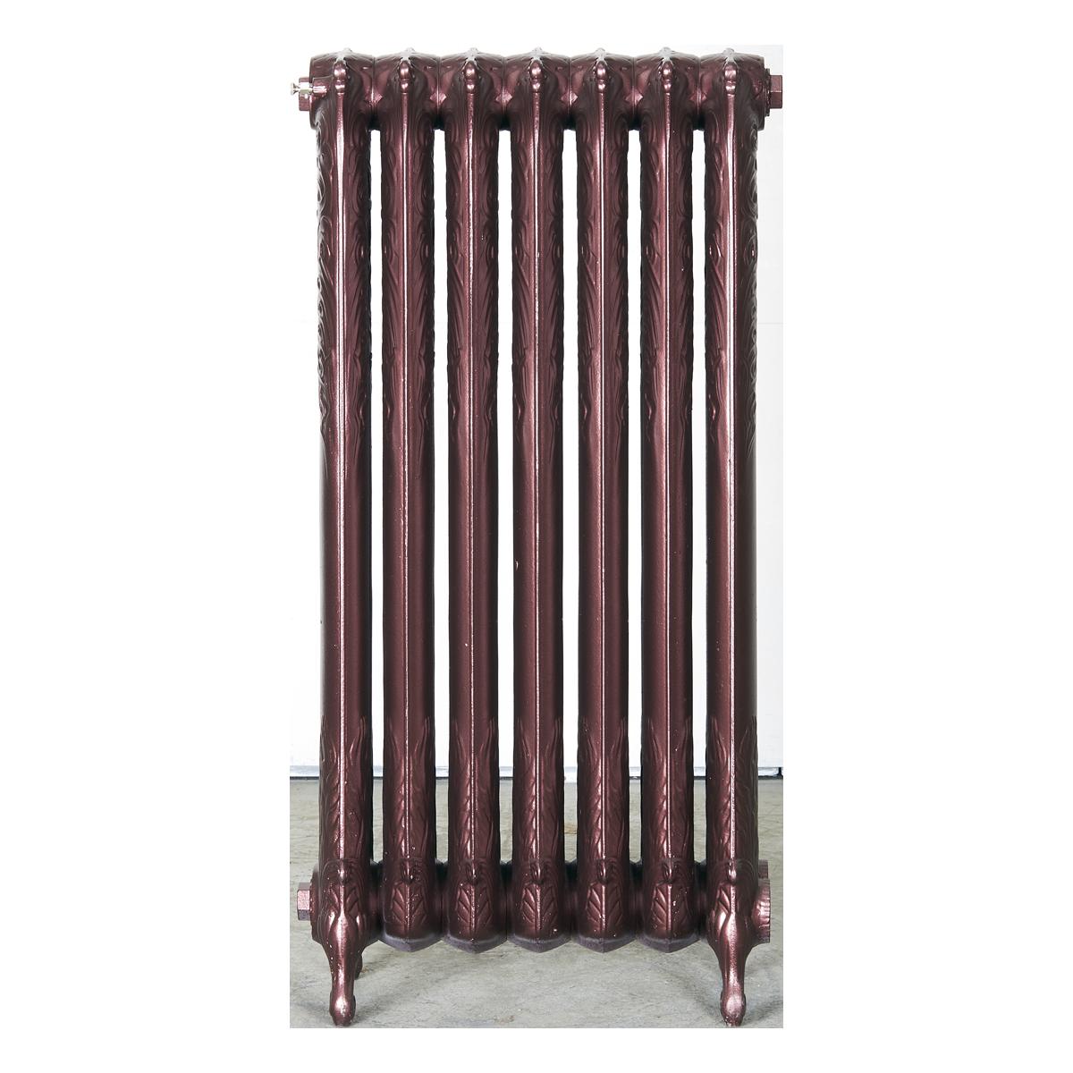 Ironworks Radiators Inc. refurbished cast iron radiator Chapeltown in Black Cherry metallic