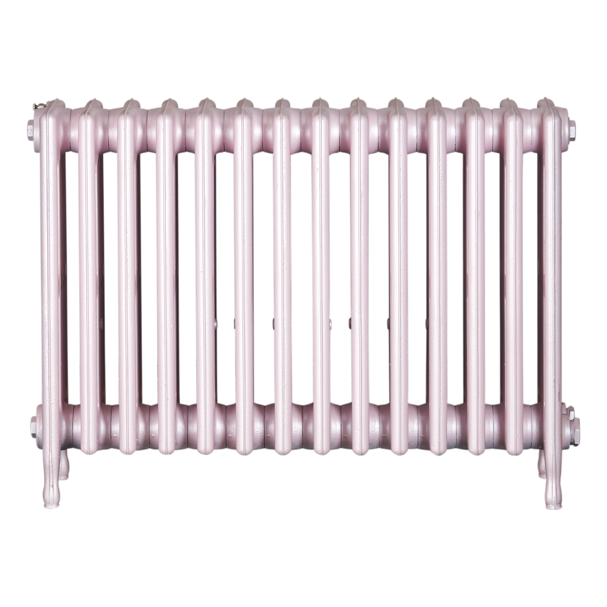 Ironworks Radiators Inc. refurbished cast iron radiator Chatsworth in Pink Pearl