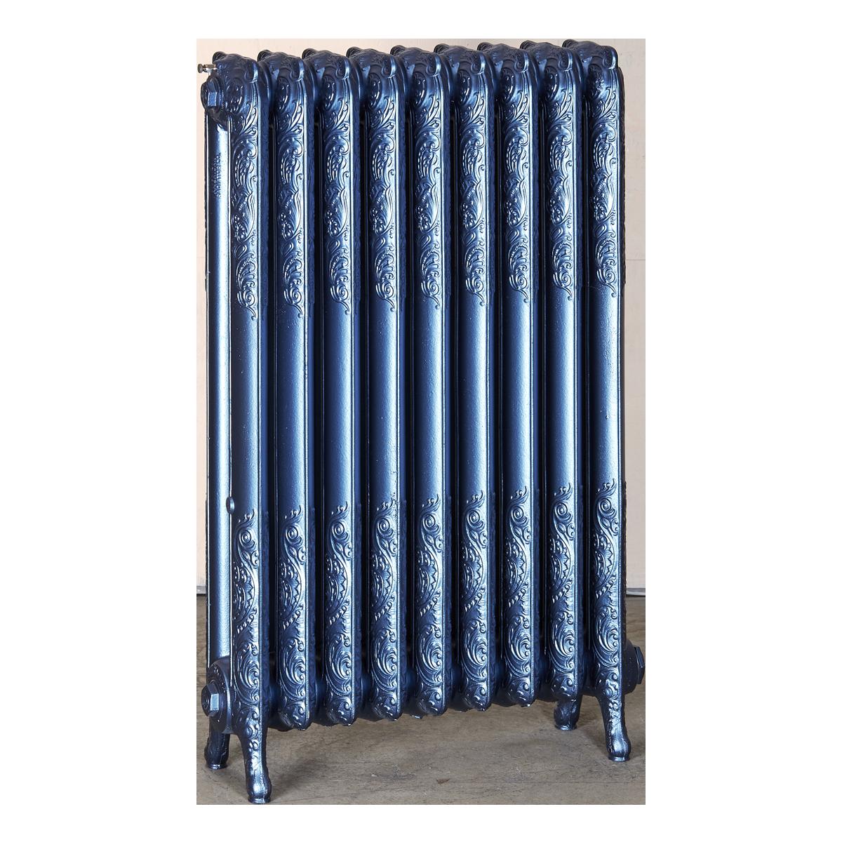 Ironworks Radiators Inc. refurbished cast iron radiator Cherrywood in Sapphire metallic
