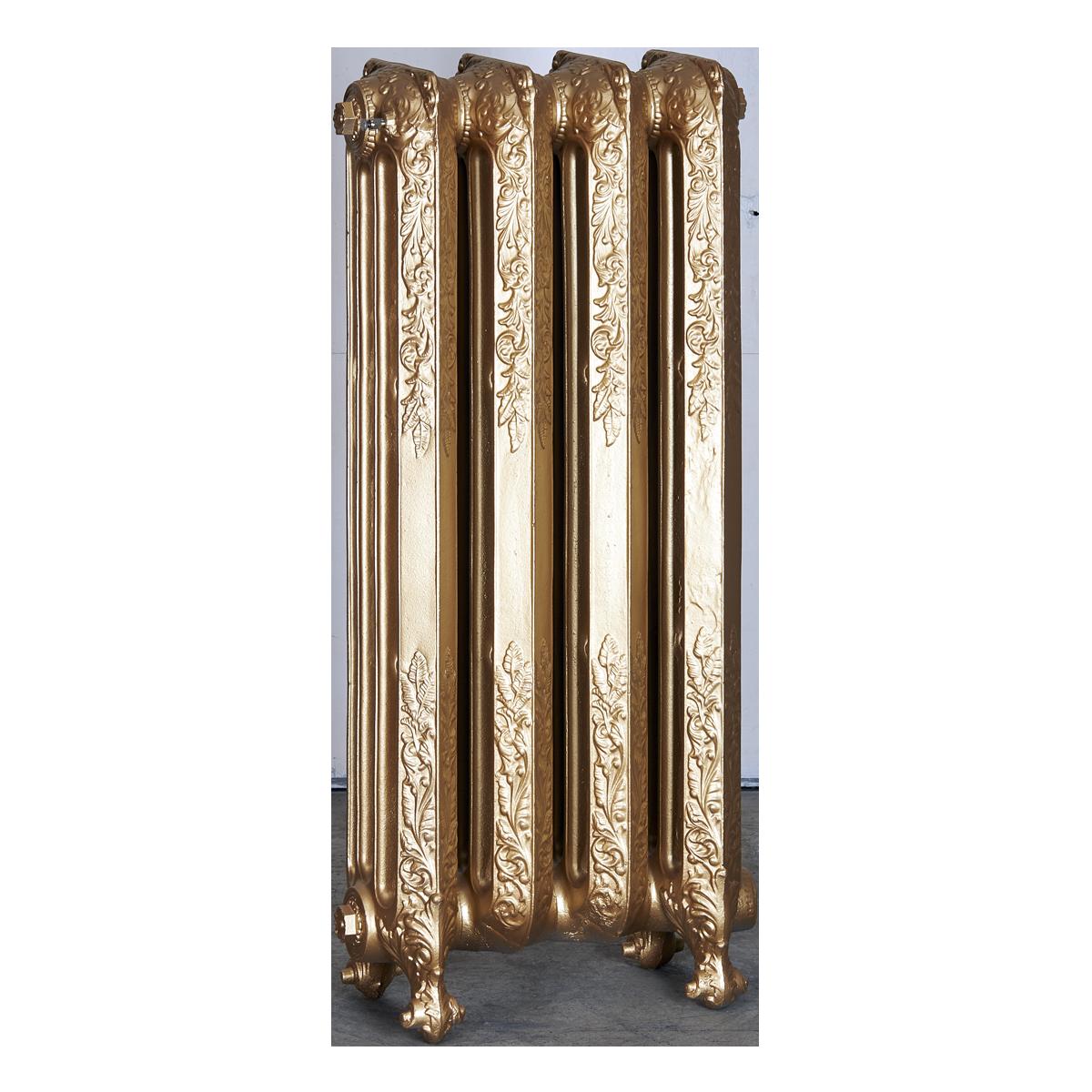 Ironworks Radiators Inc. refurbished cast iron radiator Christie in Pale Gold metallic