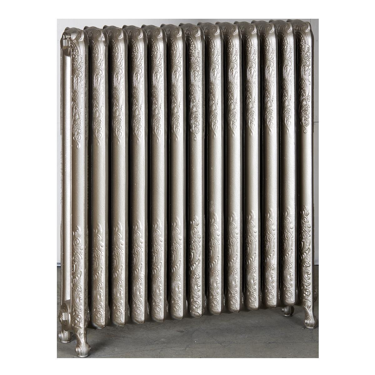 Ironworks Radiators Inc. refurbished cast iron radiator Danforth in Nickel metallic