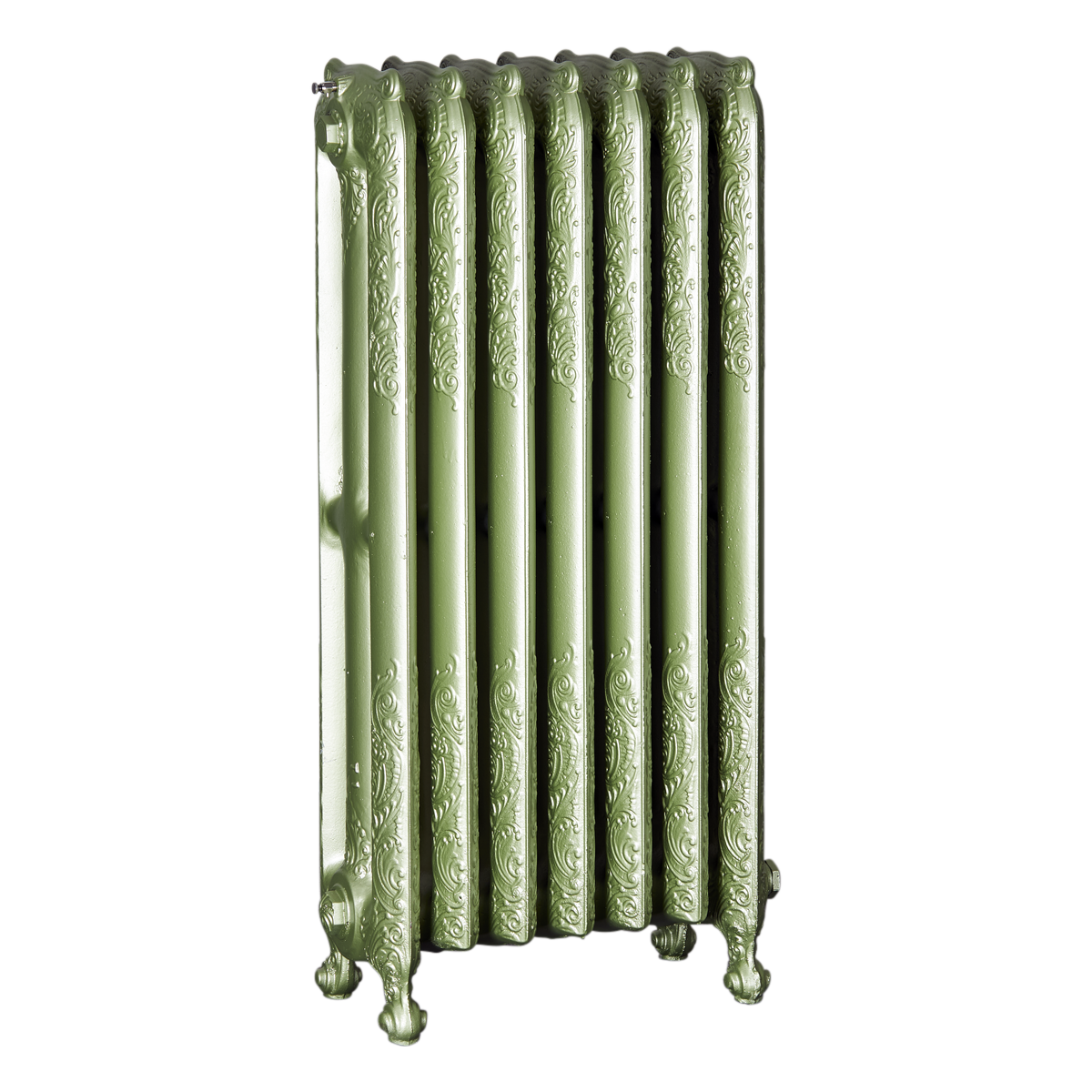 Ironworks Radiators Inc. refurbished cast iron radiator Darlington in Sage metallic