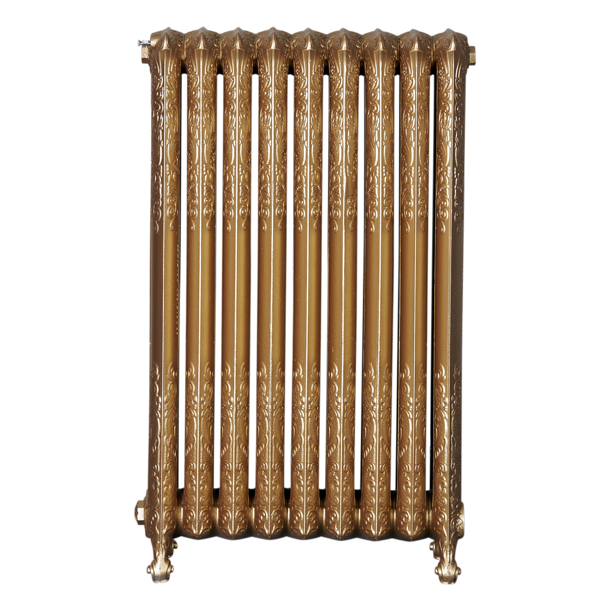 Ironworks Radiators Inc. refurbished cast iron radiator Freemont in Pale Gold metallic