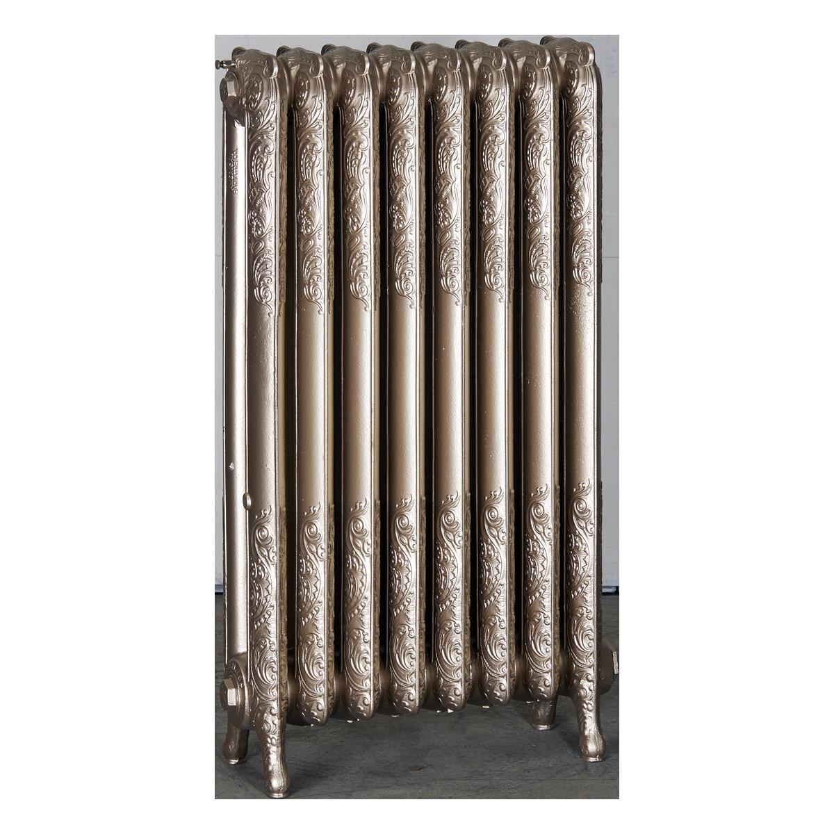Ironworks Radiators Inc. refurbished cast iron radiator Harbord in Warm Silver metallic