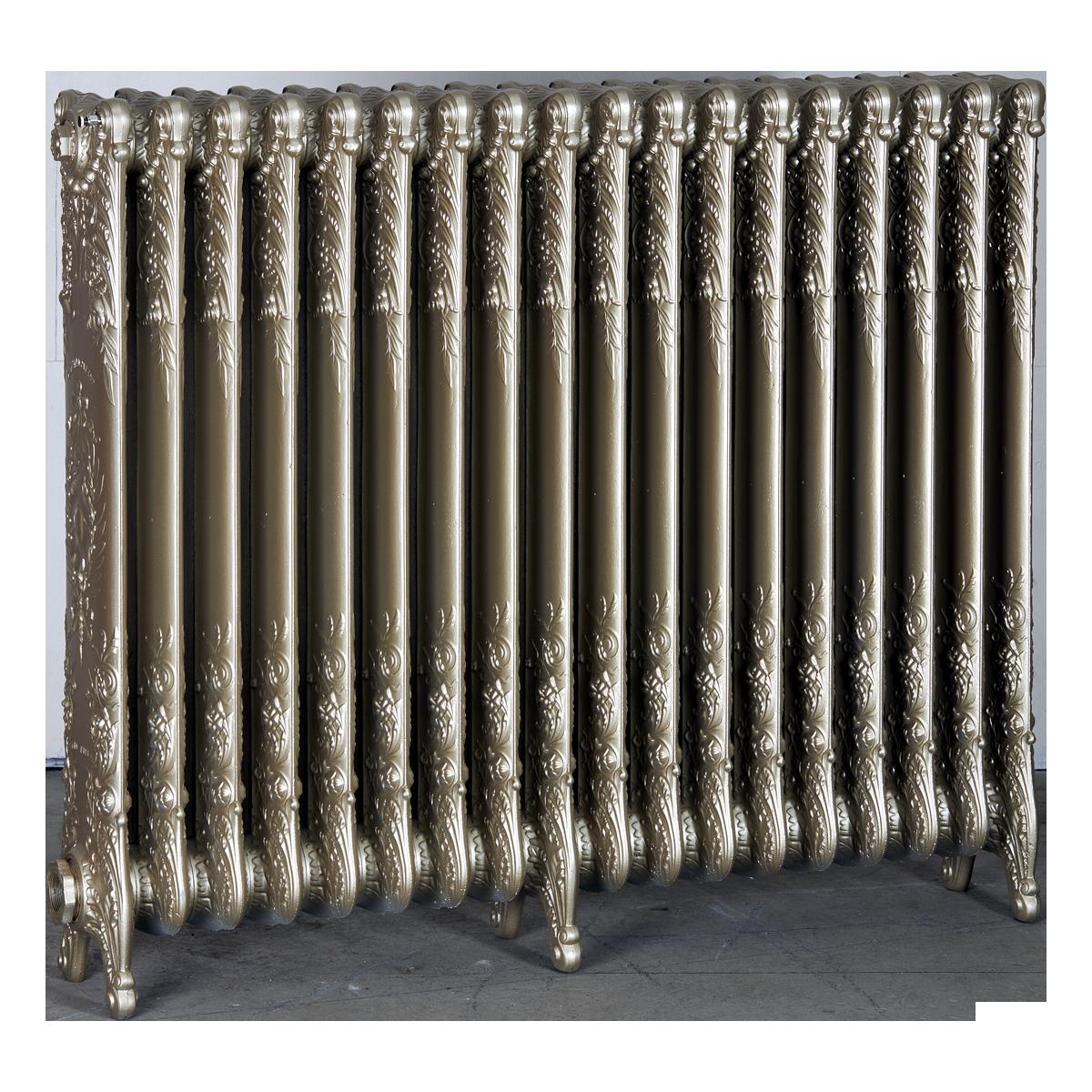 Ironworks Radiators Inc. refurbished cast iron radiator Hope in Champagne metallic