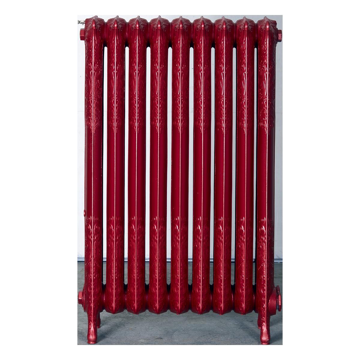 Ironworks Radiators Inc. refurbished cast iron radiator Irene in Sashay Red metallic
