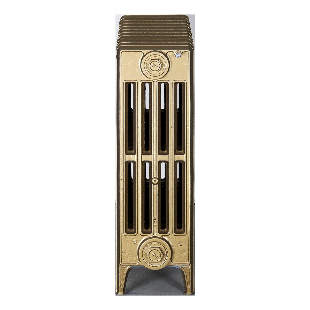 Ironworks Radiators Inc. refurbished cast iron radiator James in Brass metallic