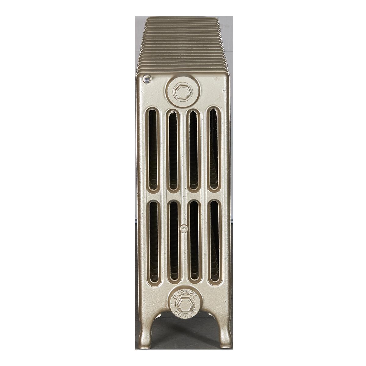 Ironworks Radiators Inc. refurbished cast iron radiator Mavety in Champagne metallic